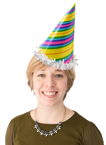 Heather Socha with party hat