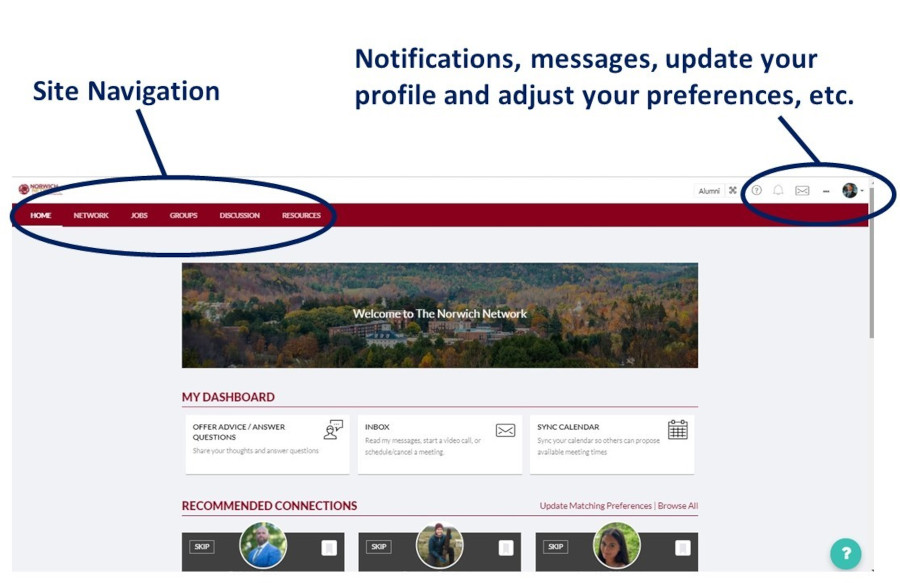 The Norwich Network - Site Navigation / Notifications, messages, profile / preferences updating