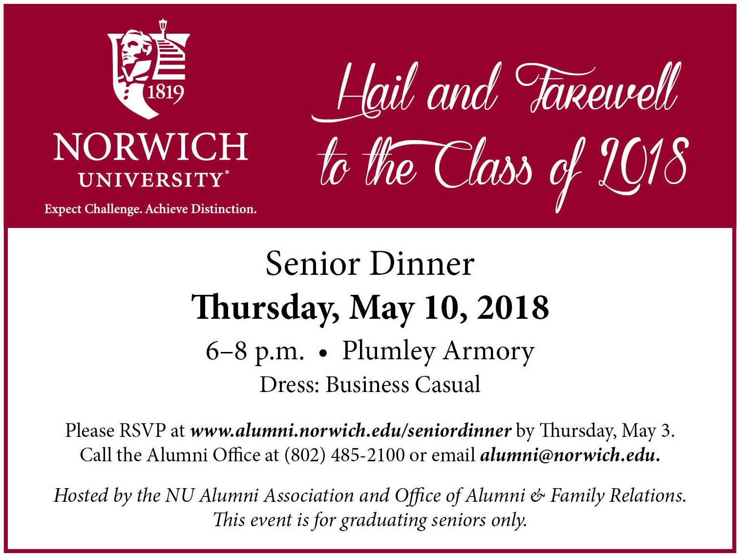 Senior Dinner 2018 Details