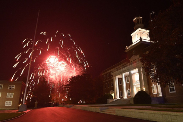 Homecoming 2019 - Friday Night Fireworks outside Jackman Hall